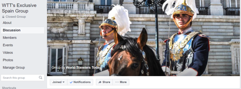 Picture of World Travelers Today's Spain Facebook Group.