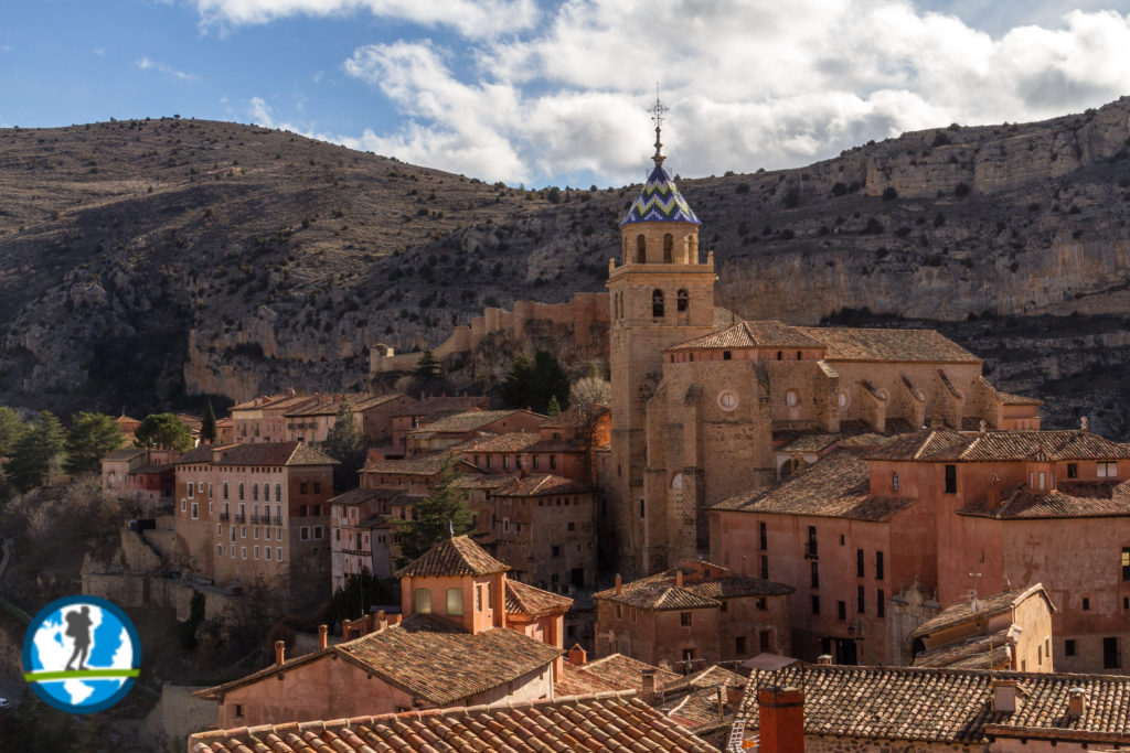 City of Albarracin with cliffs in the background.