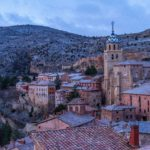 Snow falling during the early morning in Albarracin.