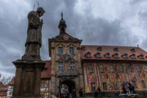 Statue on bridge in Bamberg, Germany
