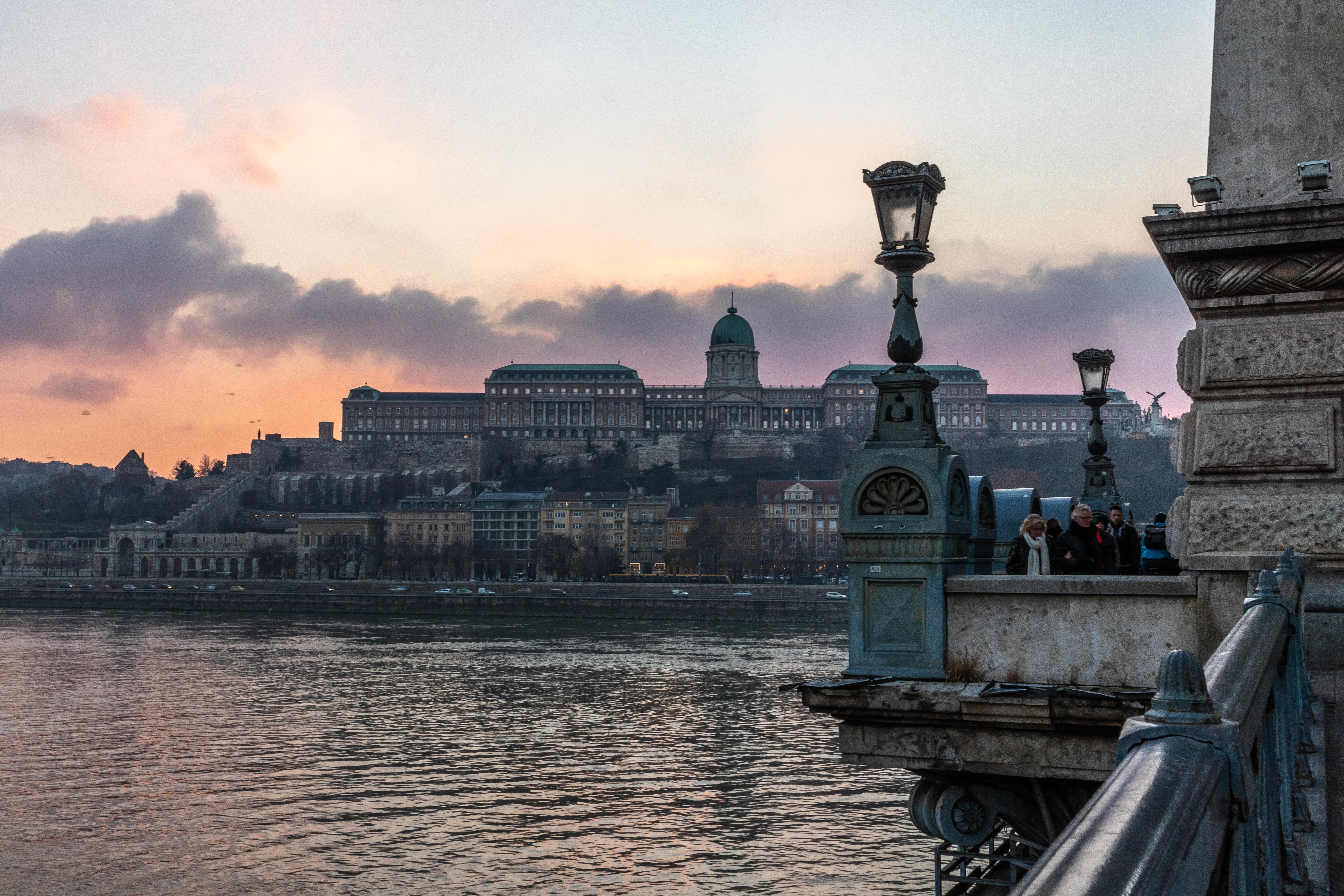Sundown on a bridge in Budapest, Hungary.