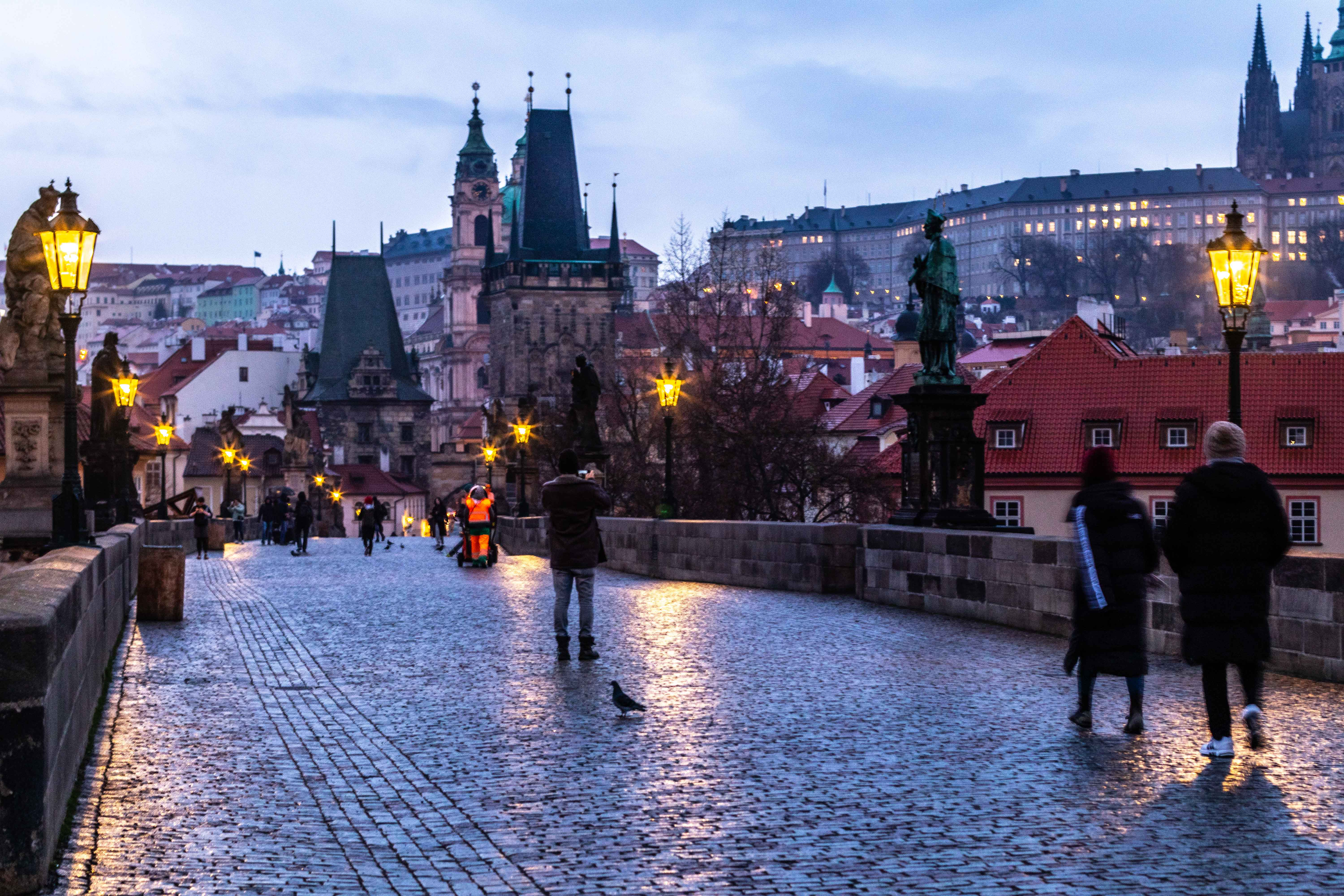 Morning sunrise in Saint Charles Bridge in Prague.