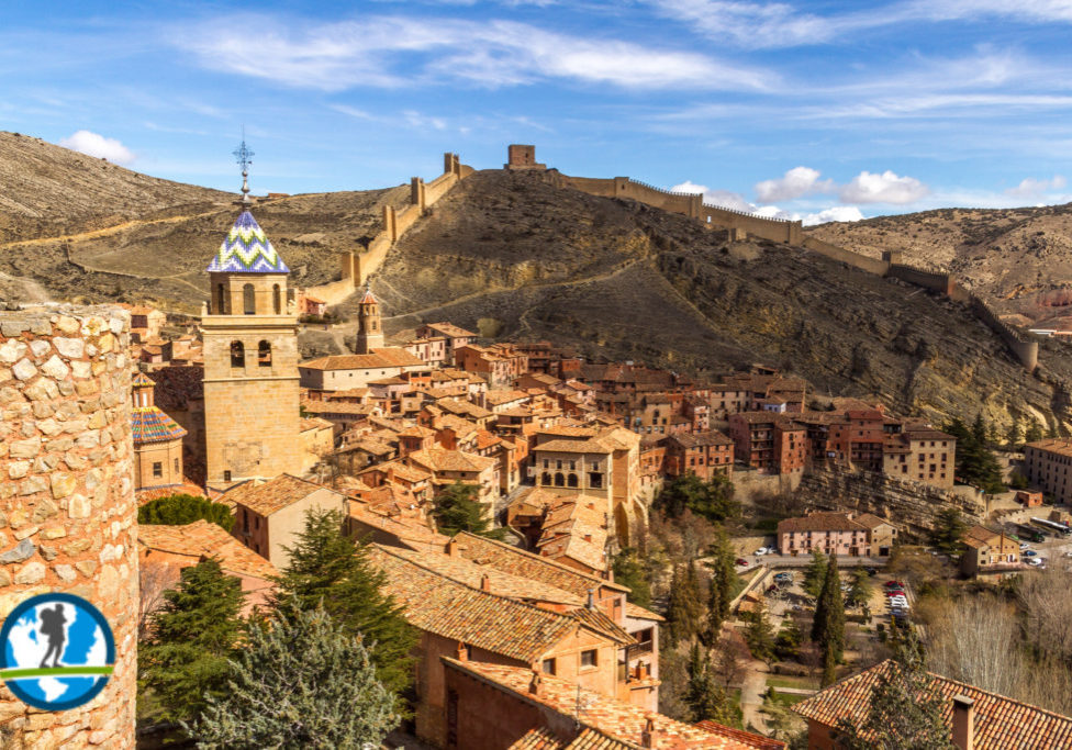 Mountain tops and city of Albarracin, Spain