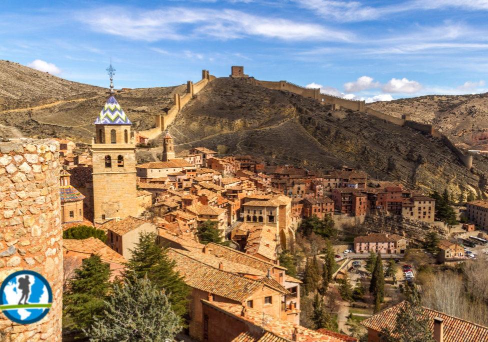 Mountain tops and city of Albarracin, Spain
